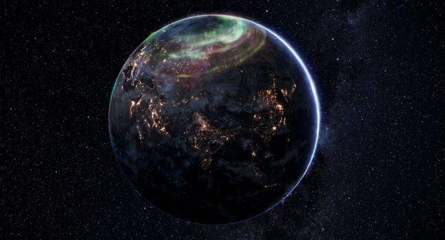Фото бесплатно планета Земля, северное сияние, вид из космоса