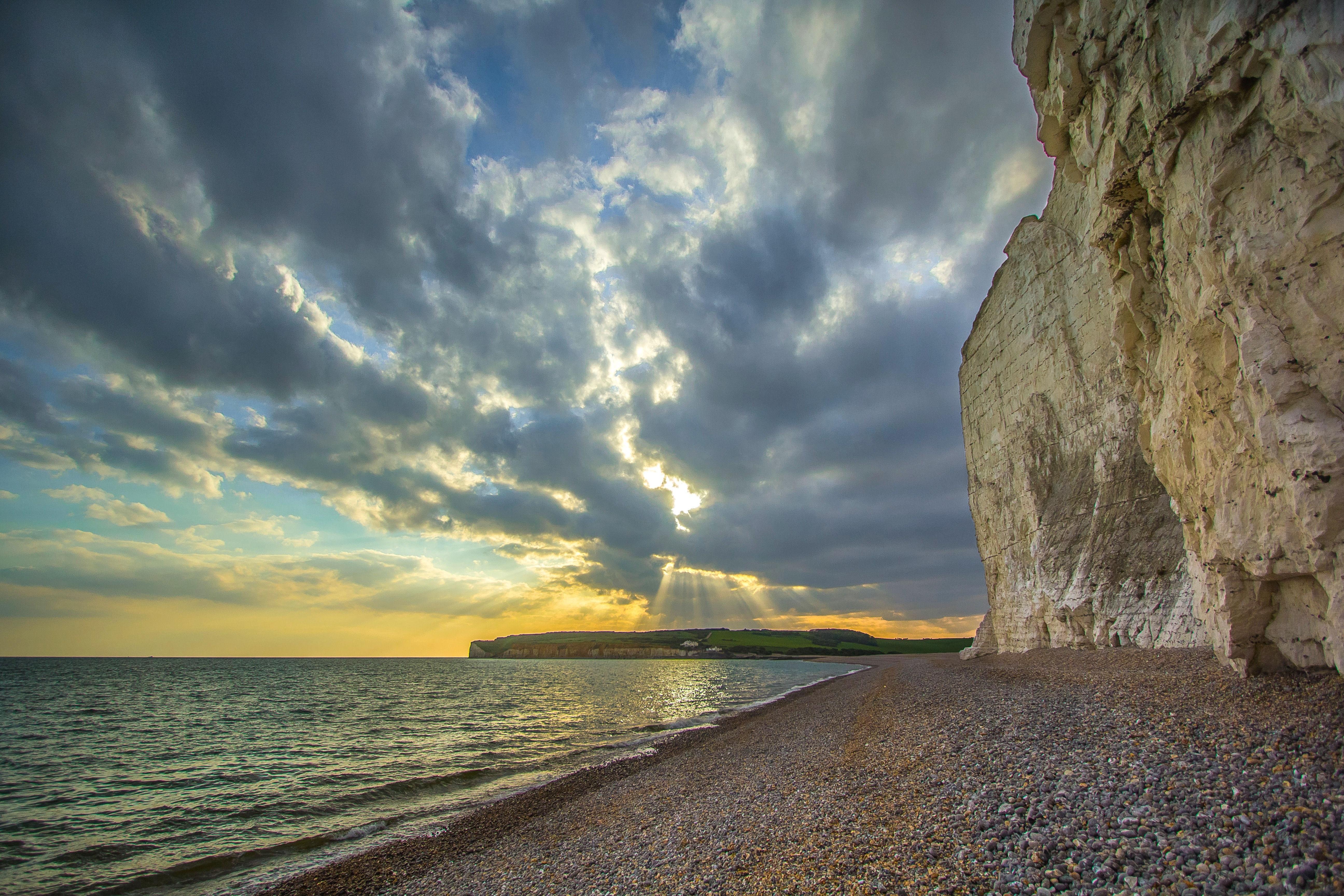 Обои закат, море, берег, скалы