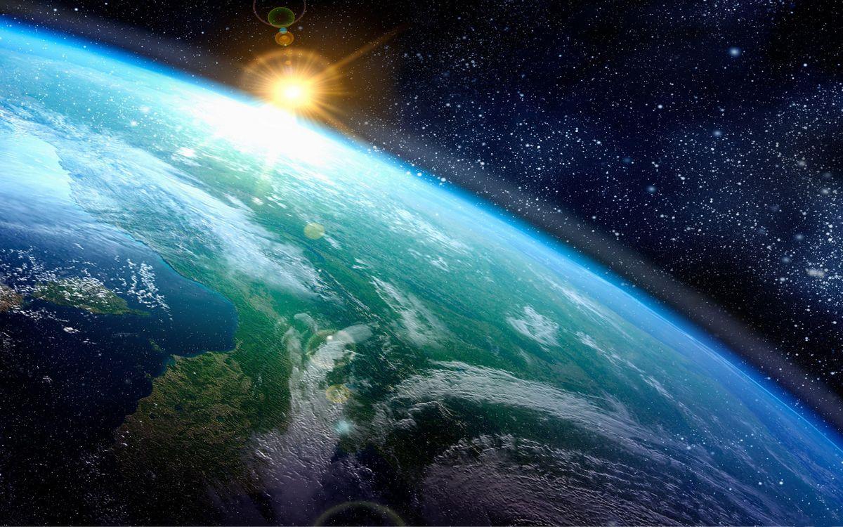 Фото бесплатно планета, Земля, восход солнца, звезды, космос