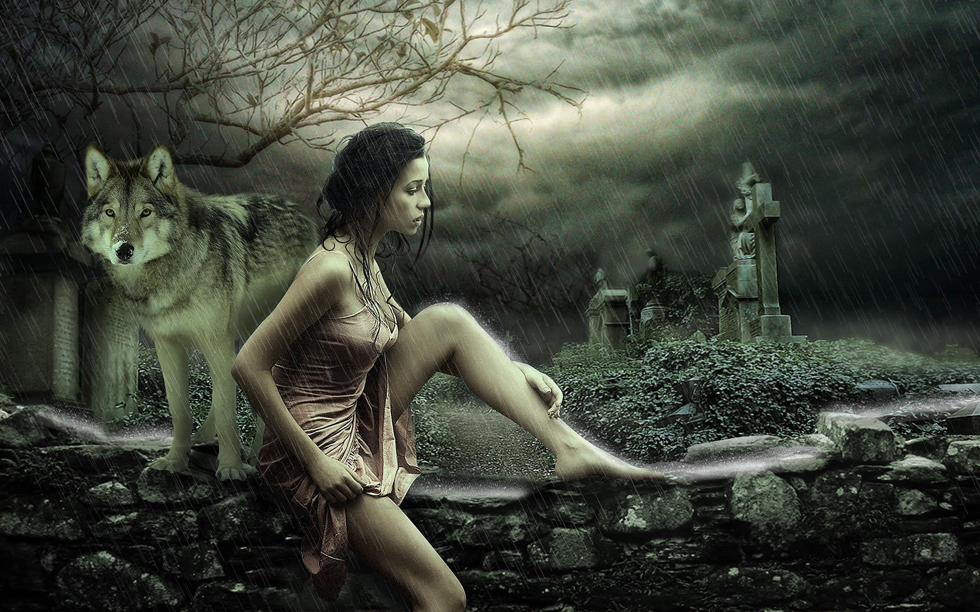 Обои дождь, девушка, волк, фантазия