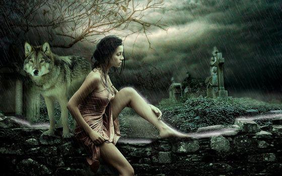 Бесплатные фото дождь,девушка,волк,фантазия,fonwall ru