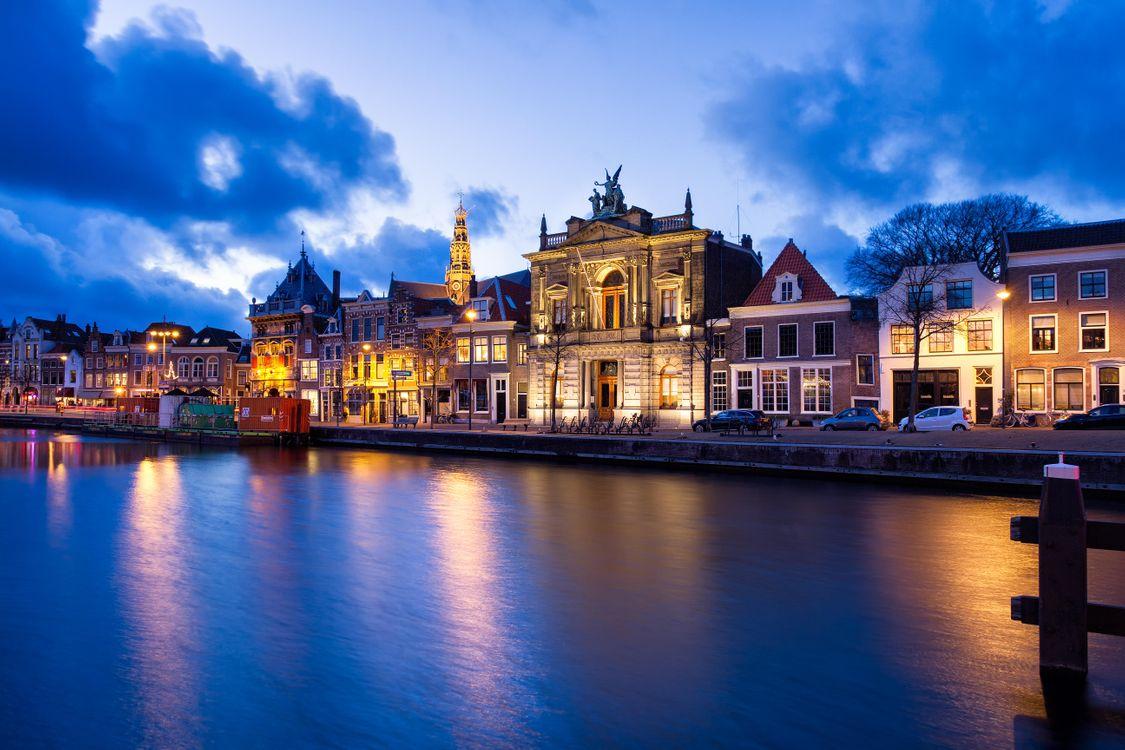 Фото бесплатно Харлем, Нидерланды, город, ночь, огни, иллюминация, город