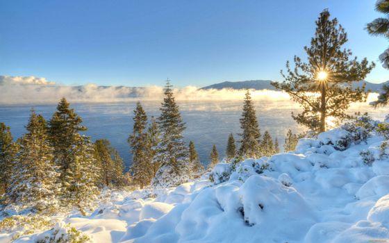 Заставки зимнее озеро, сугробы, лед