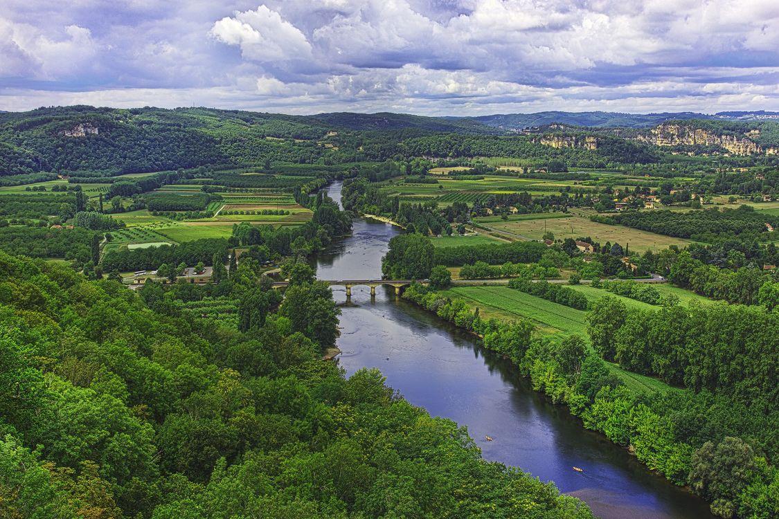 Фото бесплатно Donne, France, река, поля, дома, деревья, пейзаж, пейзажи