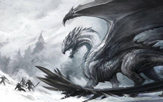 Фото бесплатно дракон, люди, битва