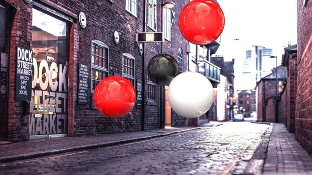 Фото бесплатно улица, дома, воздушные шарики