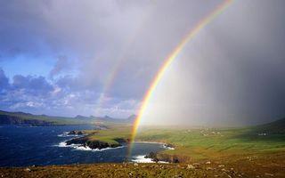 Бесплатные фото берег,море,волны,трава,небо,облака,двойная радуга