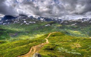 Бесплатные фото горы,трава,зеленая,дорога,снег,небо,облака