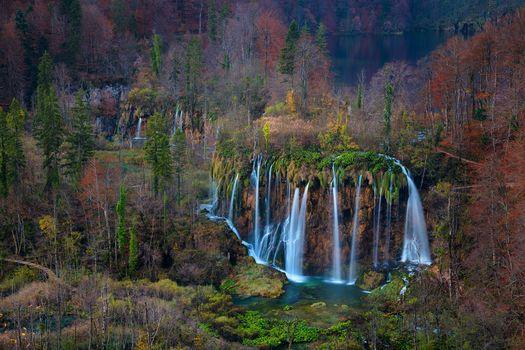Plitvice Lakes National Park, Croatia, осень, водопады, пейзаж