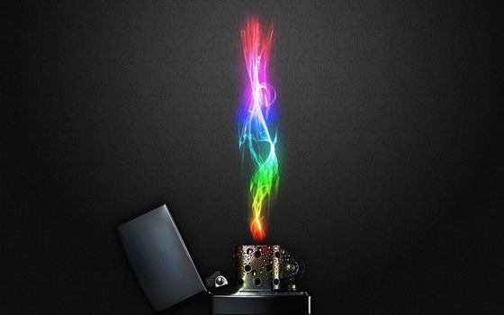 Photo free zippo, lighter, colored flame