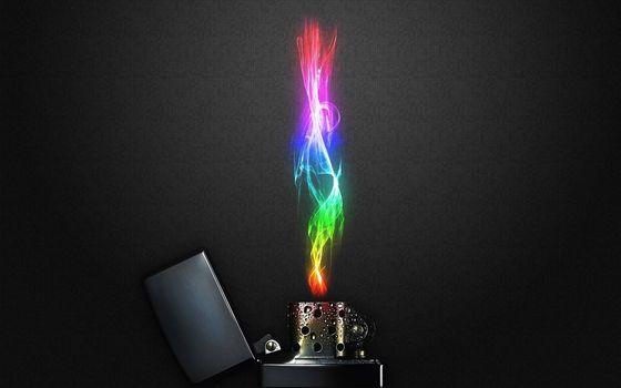 Фото бесплатно zippo, зажигалка, разноцветное пламя