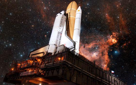 Фото бесплатно шаттл, взлетная установка, ракета, звезды