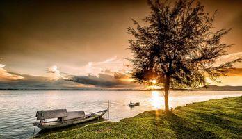 Заставки Винь, Вьетнам, река, закат, лодка, пейзаж
