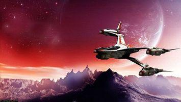 Бесплатные фото космические корабли,полет,планеты,поверхность,горы,звезды