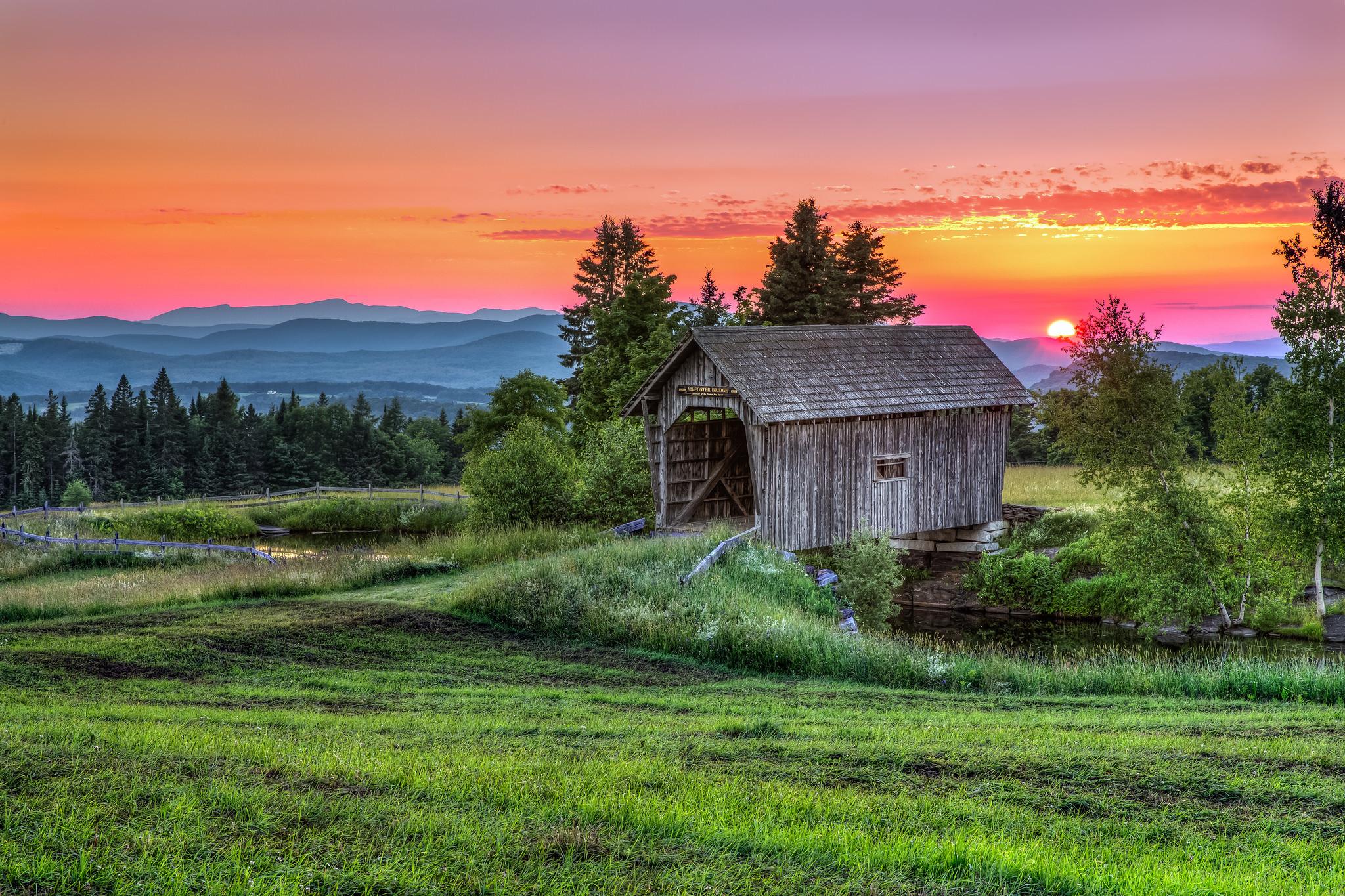 обои Новая Англия, Ортон мост, крытый мост, Вермонт картинки фото