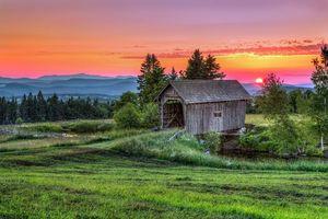 Бесплатные фото Новая Англия, Ортон мост, крытый мост, Вермонт, закат, поле, река