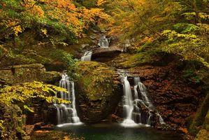 Заставки осень,лес,деревья,скалы,водопад,природа