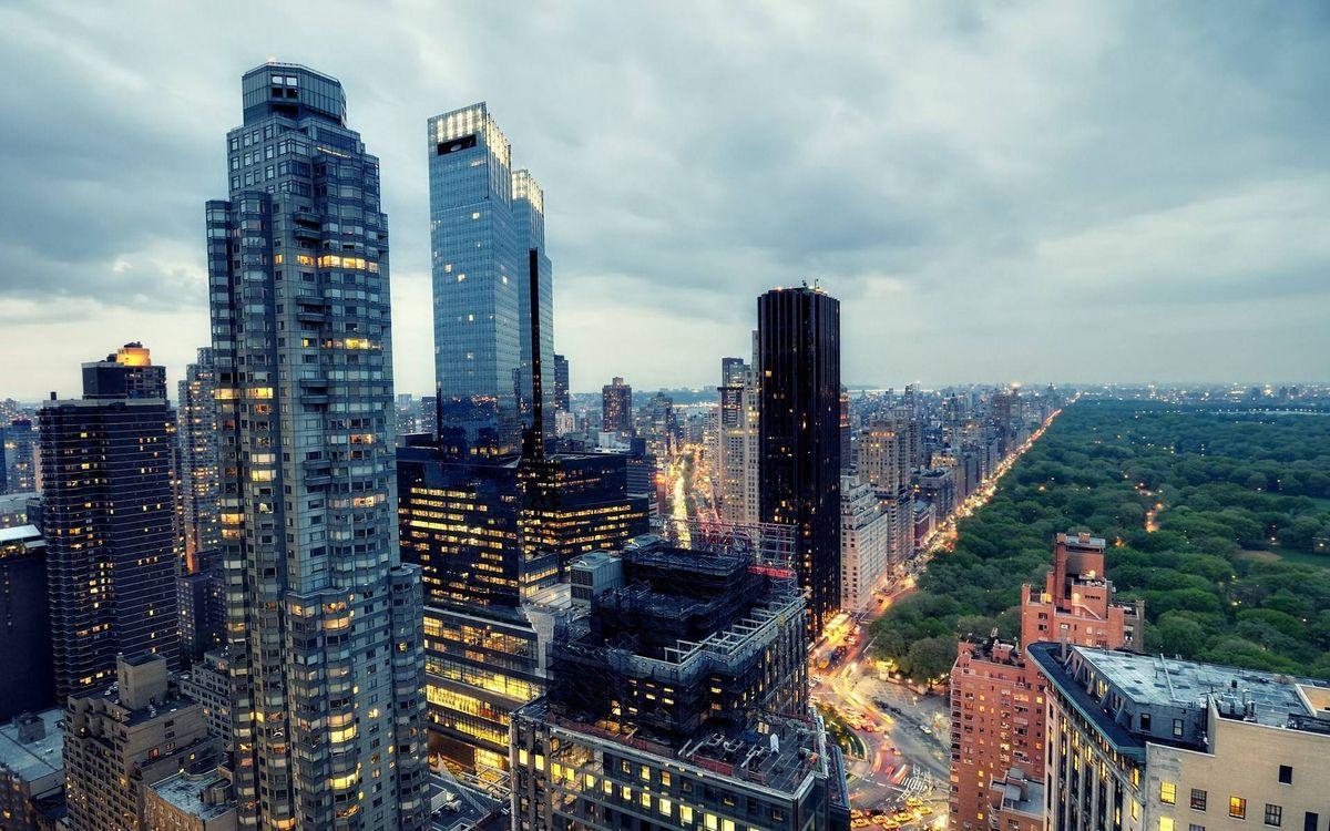 Фото бесплатно небоскребы, вечер, парк - на рабочий стол