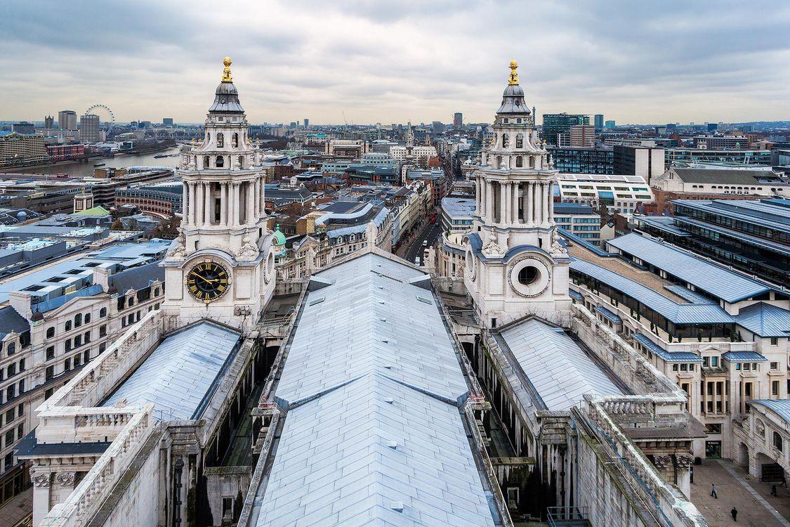 Фото бесплатно Вид на город Лондон из Санкт-Паулс собора, Собор Святого Павла, Лондон - на рабочий стол