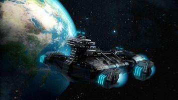 Бесплатные фото космический корабль, турбины, планета, Земля, звезды