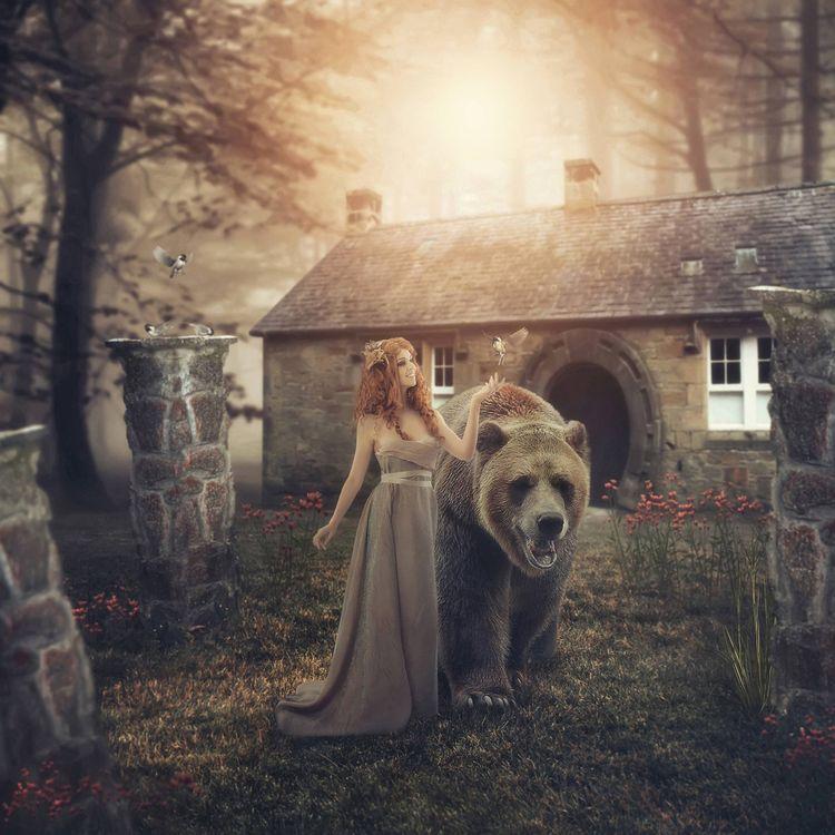 Фото бесплатно девушка, медведь, фантастика, фантастика