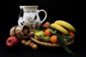 Бесплатные фото натюрморт,фрукты,бананы,груши,яблоки,орехи