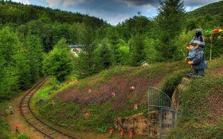 Бесплатные фото парк,железная,дорога,детская,гномы,трава,деревья