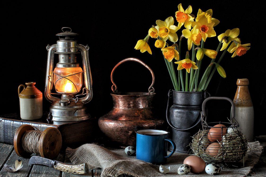 Обои стол, лампа, книга, цветы, нарцисы, яйца, натюрморт картинки на телефон
