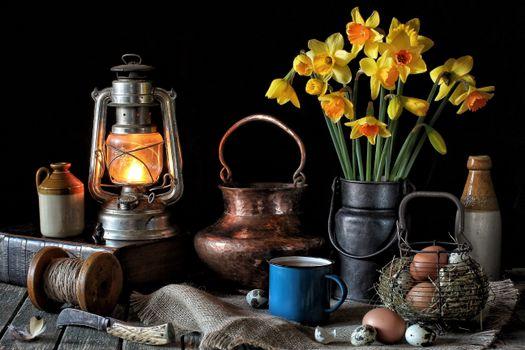 Бесплатные фото стол,лампа,книга,цветы,нарцисы,яйца,натюрморт