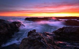 Заставки берег,камни,море,волны,небо,закат