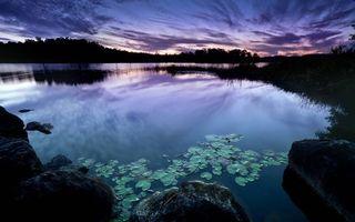 Бесплатные фото вечер,камни,озеро,растительность,деревья,небо,облака