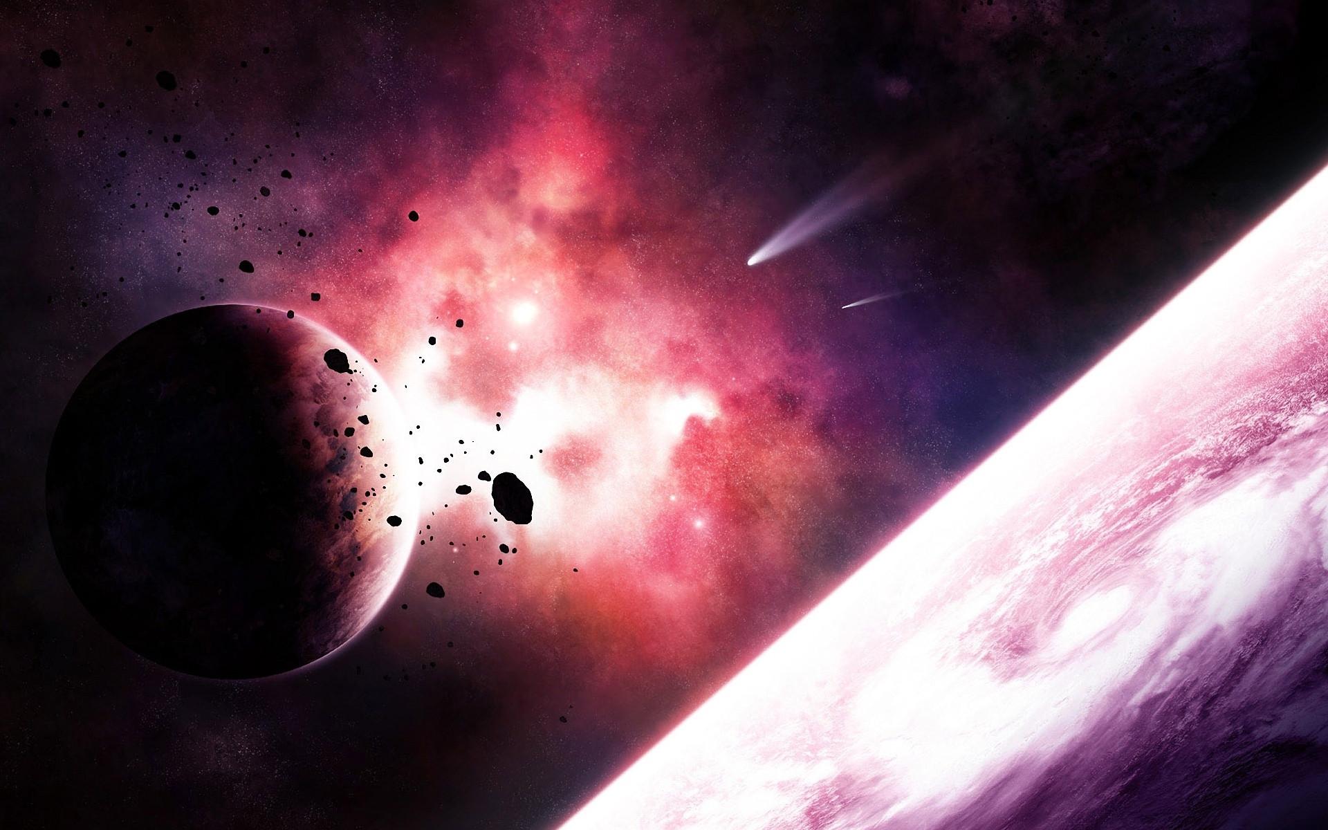обои Астероиды возле планеты, астероиды, кометы, планеты картинки фото
