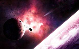 Фото бесплатно Астероиды возле планеты, астероиды, кометы