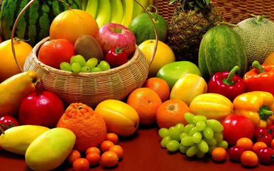 Фото бесплатно фрукты, овощи, витамины, корзина, спелые