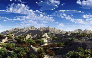 Бесплатные фото горы,скалы,камни,кустарник,небо,облака,природа
