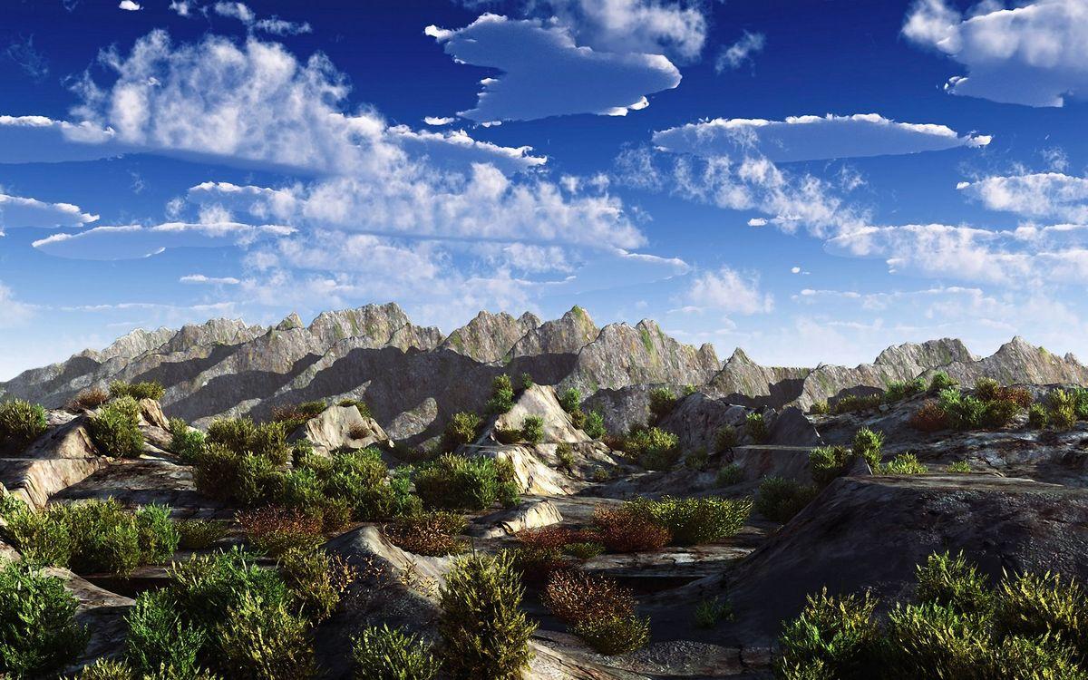 Фото бесплатно горы, скалы, камни, кустарник, небо, облака, природа, пейзажи