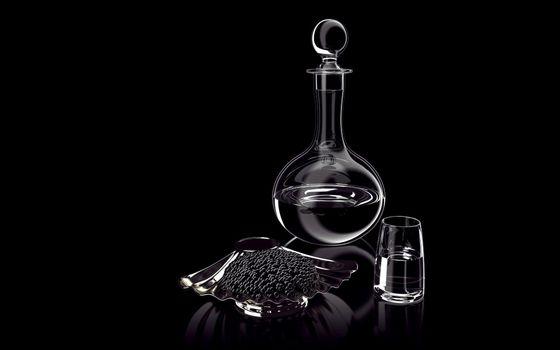Бесплатные фото графин,стопка,водка,закуска,икра черная