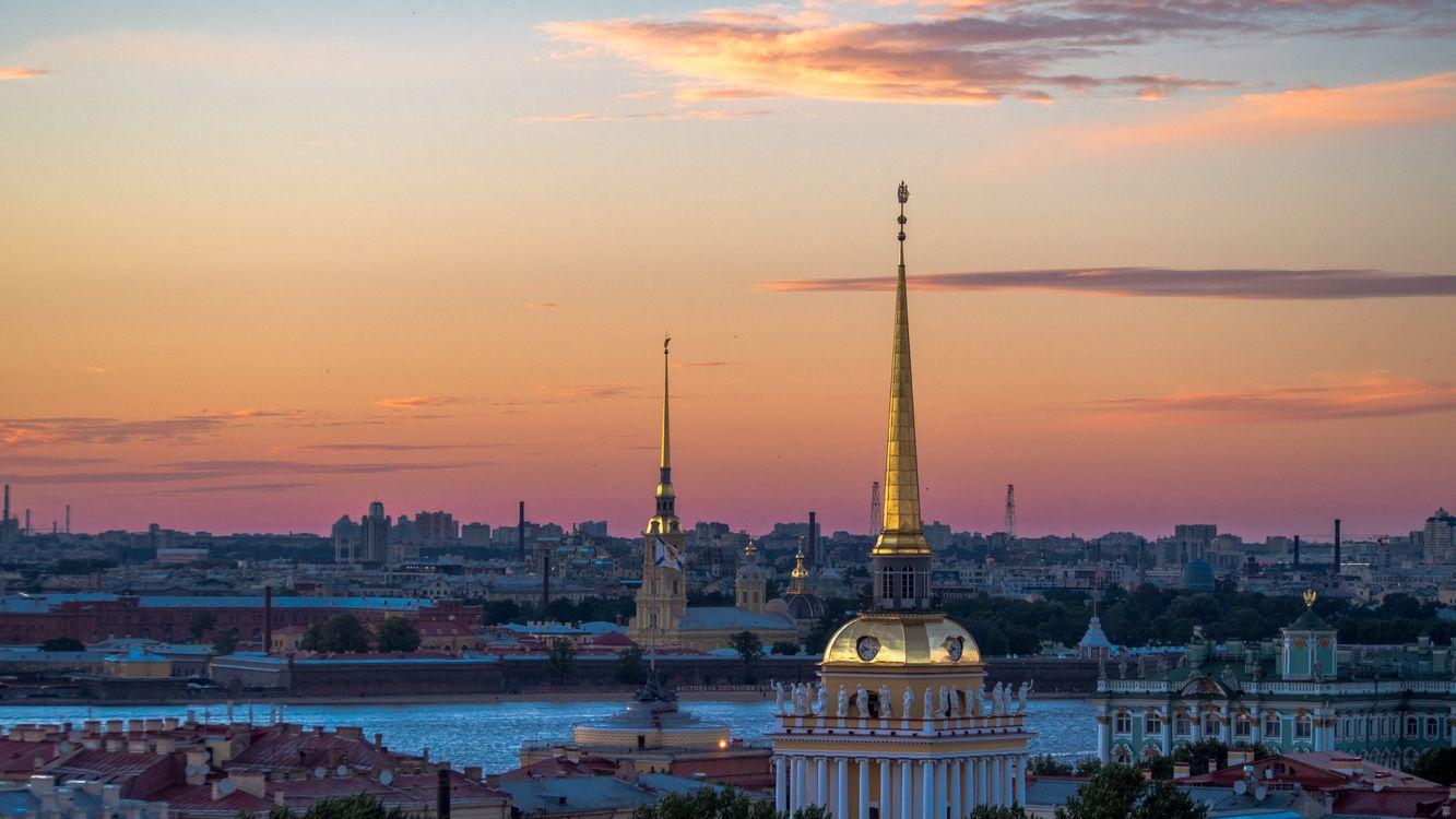 Фото бесплатно Санкт-Петербург, Ленинград, Адмиралтейство, Россия, город, панорама, сумерки, река, Нева, небо, город