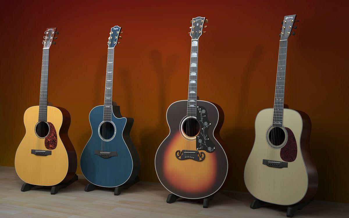 Фото бесплатно гитары, акустические, разные, струны, грифы, подставки, музыка