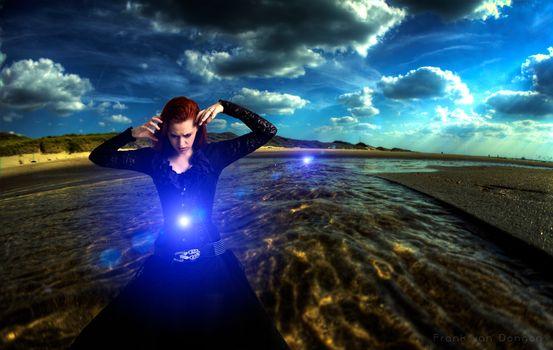 Бесплатные фото Вечный поток,девушка,река,магия