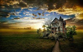 Бесплатные фото закат,поле,дом,пейзаж,art