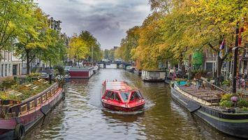Бесплатные фото Амстердам,Нидерланды,Голландия,осень,канал