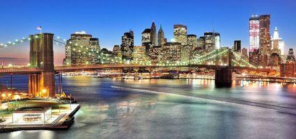 Фото бесплатно Бруклинский Мост, США, панорама