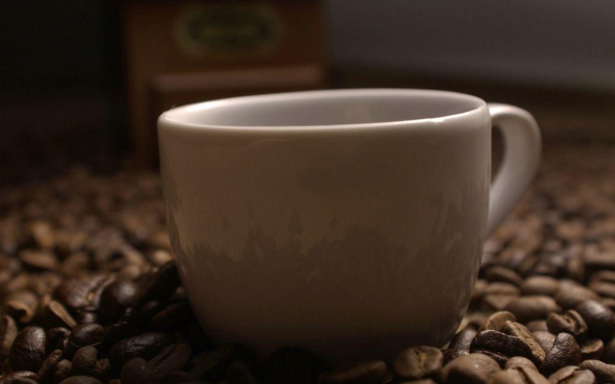 Фото бесплатно чашка, белая, кофе, зерна, много, напитки