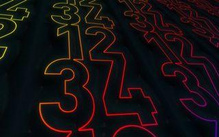 Заставки цифры, разные, подсветка, фон, черный