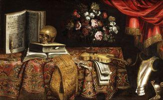 Бесплатные фото натюрморт,композиция,скрипка,череп,цветы,книги,стол