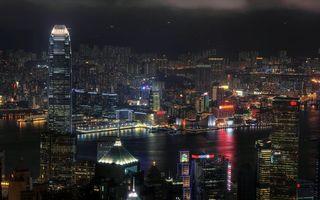 Photo free night city, skyscrapers, New York