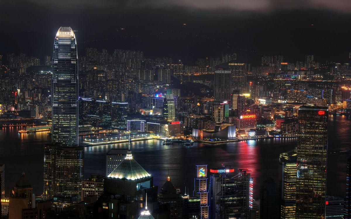 Фото бесплатно ночной город, небоскребы, Нью-Йорк - на рабочий стол
