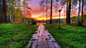Фото бесплатно тропинка, трава, фонарь