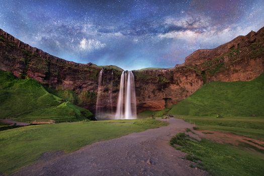 Фото бесплатно водопад, Исландия, Млечный Путь